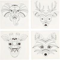 Malerlærred med print, dyr, str. 20x20 cm, 280 g, hvid, 4 stk./ 1 pk.
