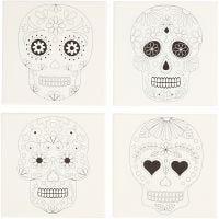 Malerlærred med print, kranier, str. 20x20 cm, 280 g, hvid, 4 stk./ 1 pk.