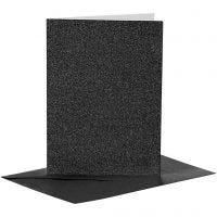 Kort og kuverter, kort str. 10,5x15 cm, kuvert str. 11,5x16,5 cm, glitter, 110+250 g, sort, 4 sæt/ 1 pk.