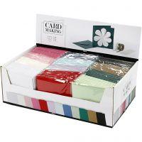 Kort og kuverter, kort str. 15,2x15,2 cm, kuvert str. 16x16 cm, 230 g, ass. farver, 12x10 pk./ 1 pk.