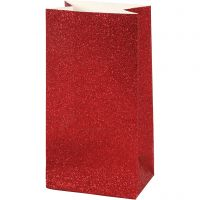 Papirposer, H: 17 cm, str. 6x9 cm, 200 g, rød, 8 stk./ 1 pk.
