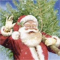 Servietter, julemand med juletræ, str. 33x33 cm, 20 stk./ 1 pk.