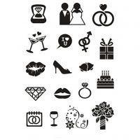 Silikonestempler, bryllup, 11x15,5 cm, 1 ark