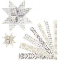 Stjernestrimler, L: 44+78 cm, diam. 6,5+11,5 cm, B: 15+25 mm, guld, hvid, 48 strimler/ 1 pk.