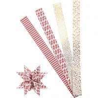 Stjernestrimler, L: 100 cm, diam. 18 cm, B: 40 mm, guld, rød, hvid, 40 strimler/ 1 pk.