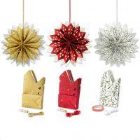 Stjerne af papirposer, guld, grøn, rød, hvid, 3x10 pk./ 1 pk.