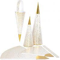 Kræmmerhuse , H: 18+28 cm, 120 g, guld, hvid, 3 stk./ 1 pk.