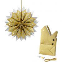 Stjerne af papirposer, 170 g, guld, 1 sæt