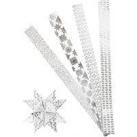 Stjernestrimler, L: 100 cm, diam. 18 cm, B: 40 mm, sølv, hvid, 40 strimler/ 1 pk.