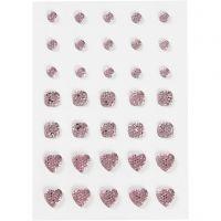 Rhinsten, rund, firkant, hjerte, str. 6+8+10 mm, rosa, 35 stk./ 1 pk.