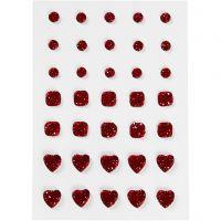 Rhinsten, rund, firkant, hjerte, str. 6+8+10 mm, rød, 35 stk./ 1 pk.