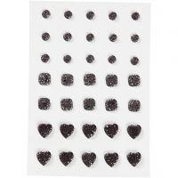 Rhinsten, rund, firkant, hjerte, str. 6+8+10 mm, sort, 35 stk./ 1 pk.