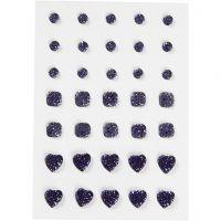 Rhinsten, rund, firkant, hjerte, str. 6+8+10 mm, blå, 35 stk./ 1 pk.