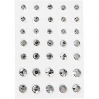 Rhinsten, rund kegle, str. 6+8+10 mm, sølv, 35 stk./ 1 pk.