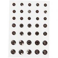 Rhinsten, rund kegle, str. 6+8+10 mm, grå, 35 stk./ 1 pk.