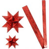 Stjernestrimler, L: 44+78 cm, diam. 6,5+11,5 cm, B: 15+25 mm, rød, 32 strimler/ 1 pk.