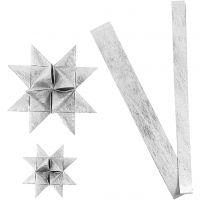Stjernestrimler, L: 44+78 cm, diam. 6,5+11,5 cm, B: 15+25 mm, sølv, 32 strimler/ 1 pk.