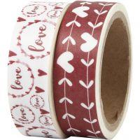 Masking Tape, LOVE og hjerter, B: 15 mm, 2x5 m/ 1 pk.