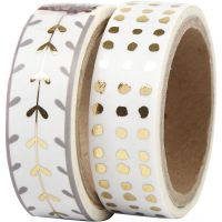 Masking Tape, hjerter og prikker - folie, B: 15 mm, guld, hvid, 2x4 m/ 1 pk.