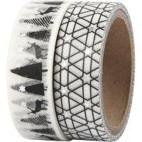 Masking Tape, kronhjort og mønster - folie, B: 15 mm, 2x4 m/ 1 pk.