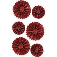 Rosetter, diam. 35+50 mm, rød glitter, 6 stk./ 1 pk.