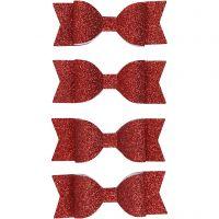 Sløjfe , str. 31x85 mm, rød glitter, 4 stk./ 1 pk.