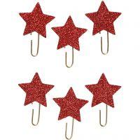 Klips , stjerne, diam. 30 mm, rød glitter, 6 stk./ 1 pk.