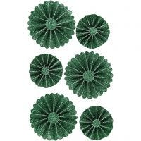 Rosetter, diam. 35+50 mm, grøn glitter, 6 stk./ 1 pk.