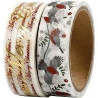 Masking Tape, glædelig jul og fugle - folie, B: 15 mm, 2x4 m/ 1 pk.