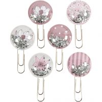 Shaker clips, L: 49 mm, diam. 25 mm, beige, brun, rosa, hvid, 6 stk./ 1 pk.