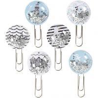 Shaker clips, L: 49 mm, diam. 25 mm, sort, blå, grå, hvid, 6 stk./ 1 pk.