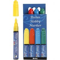 Poster Hobby Marker, streg 3 mm, blå, grøn, rød, gul, 4 stk./ 1 pk.