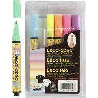 Deco tekstiltusch, streg 3 mm, neonfarver, 6 stk./ 1 pk.