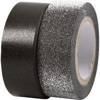 Designtape, B: 15 mm, sort, 2 rl./ 1 pk.