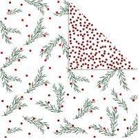 Designpapir, grangren og prikker, 30,5x30,5 cm, 180 g, guld, grøn, rød, hvid, 3 ark/ 1 pk.
