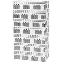 Papirposer, H: 21 cm, str. 6x12 cm, 80 g, sort, hvid, 8 stk./ 1 pk.