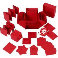 Explosion box, str. 7x7x7,5+12x12x12 cm, rød, 1 stk.