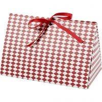 Gaveæske, harlekin mønster, str. 15x7x8 cm, 250 g, rød, hvid, 3 stk./ 1 pk.