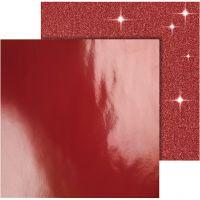 Designpapir , 30,5x30,5 cm, 120+128 g, rød, 2 ark/ 1 pk.