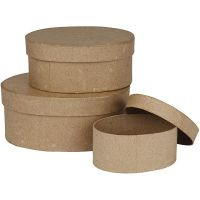 Ovale æsker, H: 5+6,5+8 cm, L: 11,5+15+18 cm, 3 stk./ 1 sæt