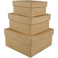 Kvadratiske æsker, H: 5+6+7,5 cm, str. 10+12,5+15 cm, 3 stk./ 1 sæt
