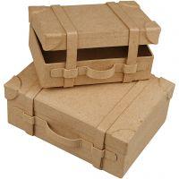 Minikufferter , H: 4,5+5 cm, L: 7.5+10 cm, B: 11+14 cm, 2 stk./ 1 sæt