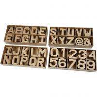 Bogstaver, tal og symboler af pap, H: 10 cm, tykkelse 1,7 cm, 160 stk./ 1 pk.