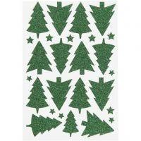 Glitterstickers, juletræ, 12x18,5 cm, grøn, 1 ark