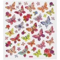 Stickers, sommerfugle, 15x16,5 cm, 1 ark