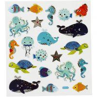 Stickers, havets dyr, 15x16,5 cm, 1 ark
