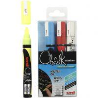 Chalk Marker, streg 1,8-2,5 mm, blå, rød, hvid, gul, 4 stk./ 1 pk.