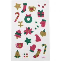 Glitterstickers, jul, 10x16 cm, 1 ark