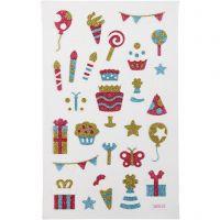 Glitterstickers, fødselsdag, 10x16 cm, 1 ark