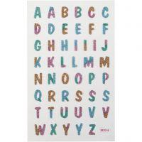 Glitterstickers, bogstaver, 10x16 cm, 1 ark